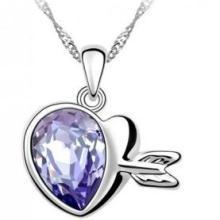 供应奥地利水晶项链,丘比特之恋心形项链 ,水晶饰品批发