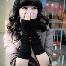 韩版秋冬时尚薄款纯色半指手臂套/露指长手套/毛线针织袖套-黑色批发
