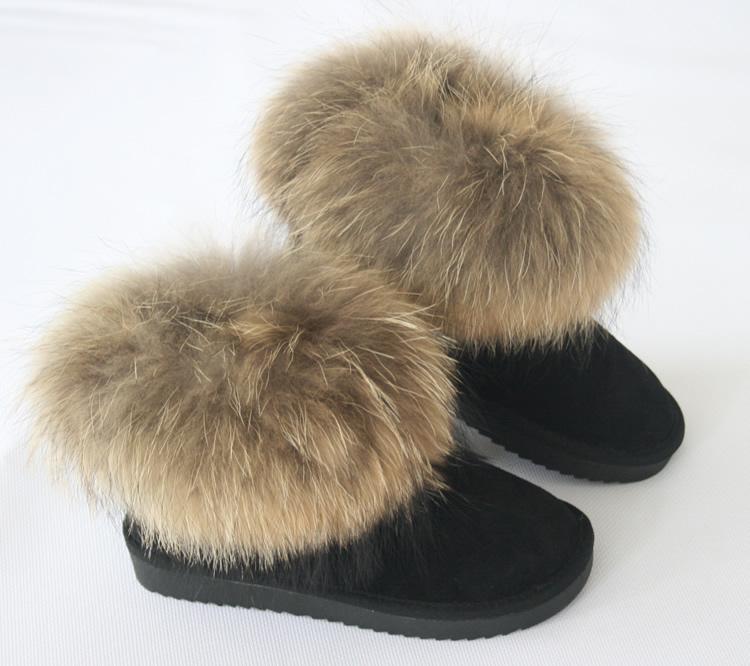 雪地鞋供应商/生产供应5854-8狐狸毛雪地鞋-海亮鞋业