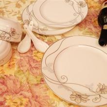 批发骨瓷餐具盘子,碗套装(银百合)正品唐山骨瓷厂家批发,高档瓷餐具批发