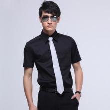 供应g2000男士修身纯黑色斜纹短袖衬衫批发