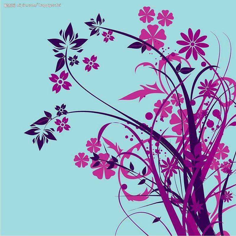 粉紫色花手绘图