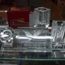水晶办公用品广州军区礼品解放军礼品水晶三件套