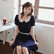 供应韩版学院风气质娃娃领连衣裙39066