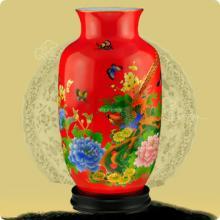 供应中国红瓷器花瓶 醴陵红瓷花瓶高档商务、结婚、乔迁礼品 鱼尾瓶锦鸡