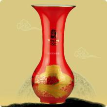 供应瓷器花瓶中国红瓷花瓶醴陵红瓷大巴拿马金长城商务会议居家装饰礼品