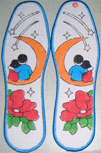 供应印花十字绣鞋垫 手工鞋垫半成品,十字绣鞋垫行业中的精品 印花