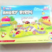 4片愤怒的小鸟立体拼图批发纸泡沫3D立体拼图批发