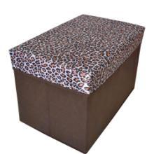 供应豹纹面盖长方形收纳凳