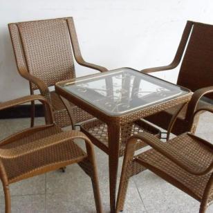 厂家订制户外编藤PE桌椅颜色可自选图片