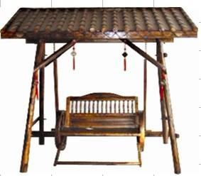 供应带蓬琉璃瓦秋千椅绿源木制品