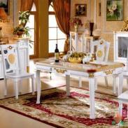 永旭家具实木餐桌椅组合大理石餐桌图片