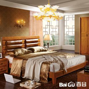 百谷实木床中式家具榻榻米双人床图片