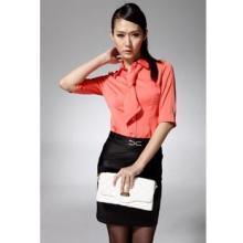 供应冕姿韩版修身收腰女装春装中袖衬衫