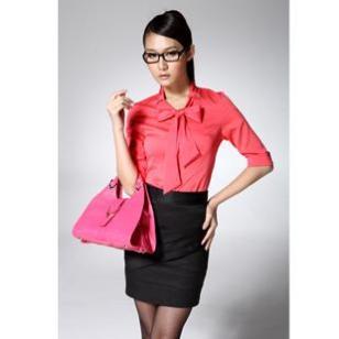 冕姿韩版修身收腰中袖2012职业女装图片