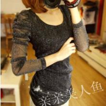 韩版秋装蕾丝上衣泡泡袖修身T恤中长款低领长袖打底衫女潮批发