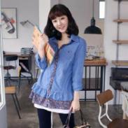 春装衬衫女款长袖韩版牛仔衬衫图片