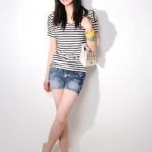 平凉服装批发女士短袖t恤韩版女装兰州东部综合批发市场女款长t恤牛仔裤