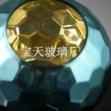 原创手工品味现代时尚高档高硼硅玻璃,蓝色刻面烛台烛杯批发