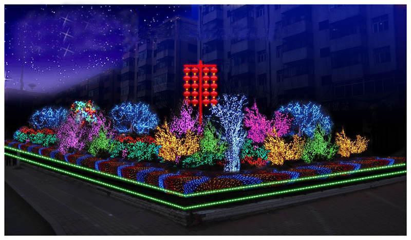 : 产品简述:街道树木春节布灯效果图 亮化工程图的详细描述:主要图片