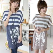 供应20827两色入2012夏装新款可爱韩版女装条纹斑马印花长款T恤图片