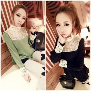 日韩女装镂空蕾丝拼接压褶雪纺销售