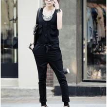 供应3402黑色欧美风街头时尚潮风范多口袋显瘦连身裤批发