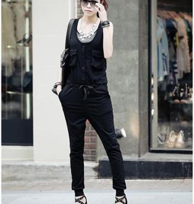风范多口袋显瘦连身裤图片/风范多口袋显瘦连身裤样板图 (1)