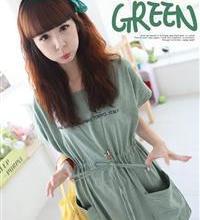 供应特1530绿色韩国时尚新款英文字母收腰休闲短袖连衣裙