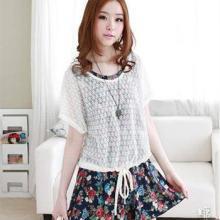 供应10353韩版女装2012夏装新款碎花腰连帽罩衫两件套洋装连衣裙批发