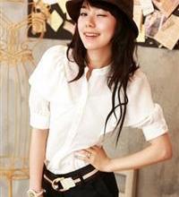 供应特2934白色韩国荷叶公主袖气质衬衫