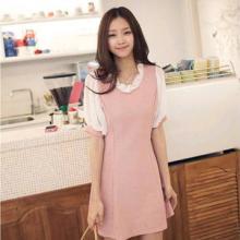 供应10324两色入韩版女装新款雪纺拼接公主袖甜美洋装连衣裙批发