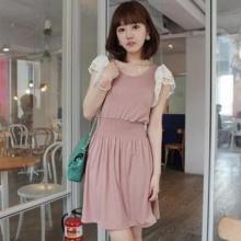 供应特10207粉色日韩女装2011甜美蕾丝袖百搭收腰洋装连衣裙子