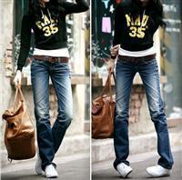供应3103蓝色韩版修身显瘦做旧直筒牛仔裤图片