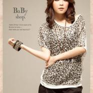韩版女装时尚豹纹拼接宽松短袖T恤图片