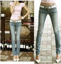 供应3100浅蓝色韩版日系修腿显瘦提臀小脚牛仔裤批发