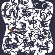 青花瓷剪纸12生肖图片