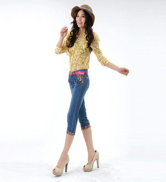 夏季新款女款牛仔中裤七分裤