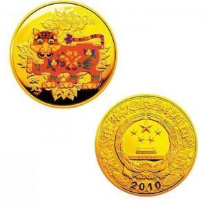 2010虎年5盎司圆形彩色金币图片