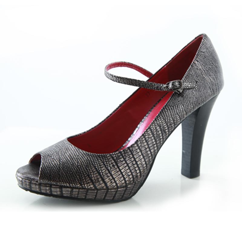 供应黑色蛇纹真皮女鞋086a-1