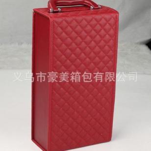 红色双支皮质高档红酒礼盒图片