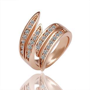 18K玫瑰金镶钻指环图片