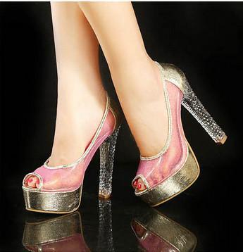 镂空凉鞋图片|镂空凉鞋样板图|超高跟鞋14cm水晶跟拼