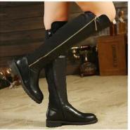 高筒骑士靴韩版圆头中跟侧拉链女靴图片