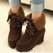 坡跟厚底松糕防水台棉靴雪地靴图片