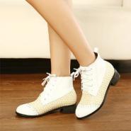 系带骑士靴编织拼接单靴秋靴女鞋图片