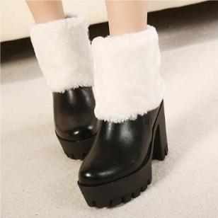 厚底粗跟加毛短靴防滑高跟雪地女靴图片