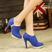 厚底裸靴女靴子细跟高跟马丁靴图片