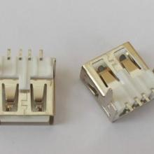 USB AF90度直脚卧式透板端子SMT无后盖白胶