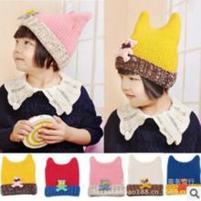 秋冬新款卡通牛角造型帽子韩版儿童帽子秋冬帽子批发批发